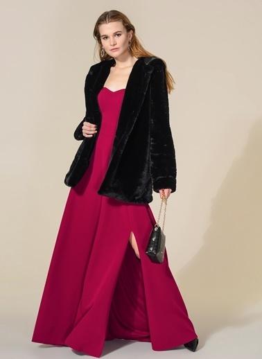 Agenda Kol Ve Yırtmaç Detaylı Elbise Fuşya